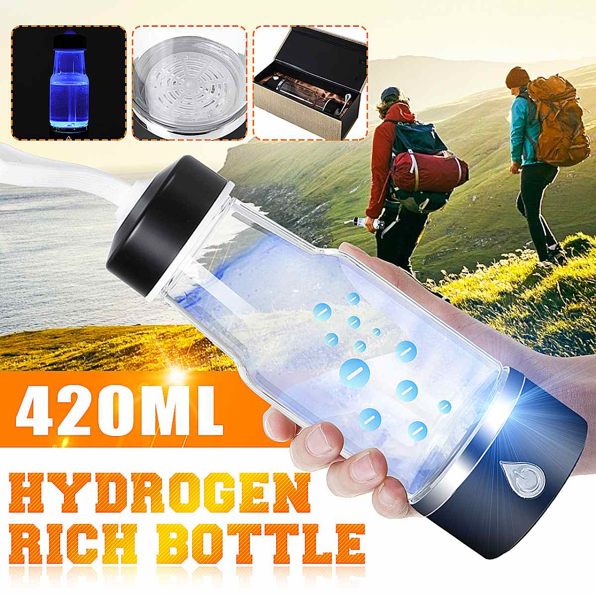 Becornce 3min Portable Hydrogen-Rich Water Cup Ionizer Maker/Generator Super Antioxidants ORP Hydrogen Bottle 420ml Rechargeable