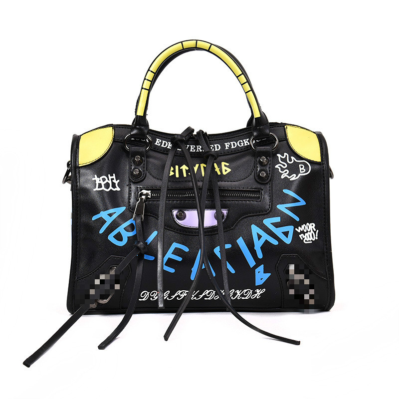 Luxury Handbags Women Bags Designer Leather Graffiti Crossbody Bags for Women 2020 Rivet Motorcycle Shoulder Bags