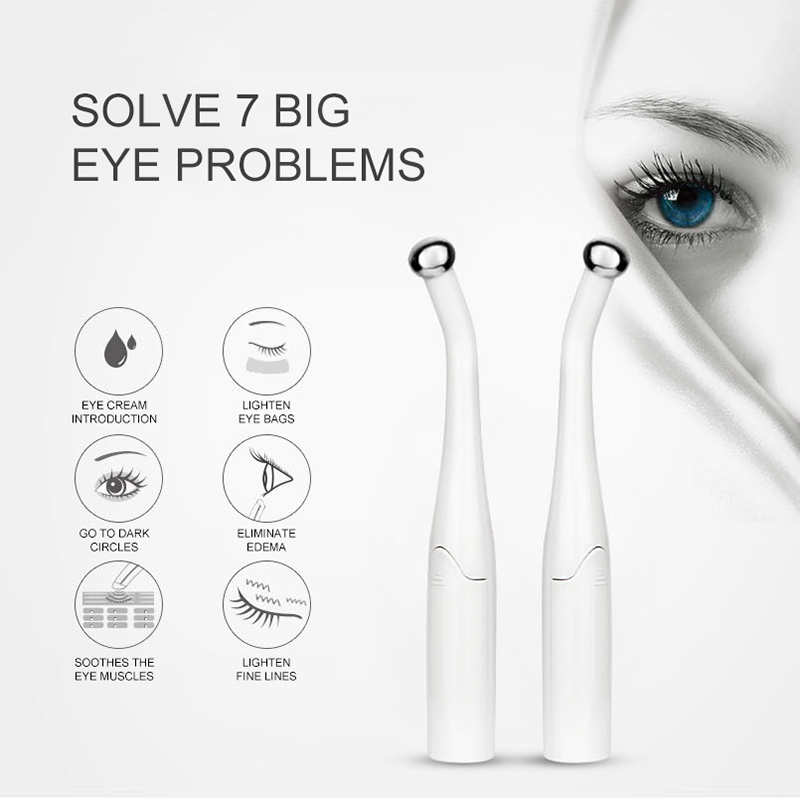 Beauty 2 In 1 Electric Eye Massager Device Pen Anti Aging Wrinkle Micro-current Massage Negative Ion Importing Eyes Care Device