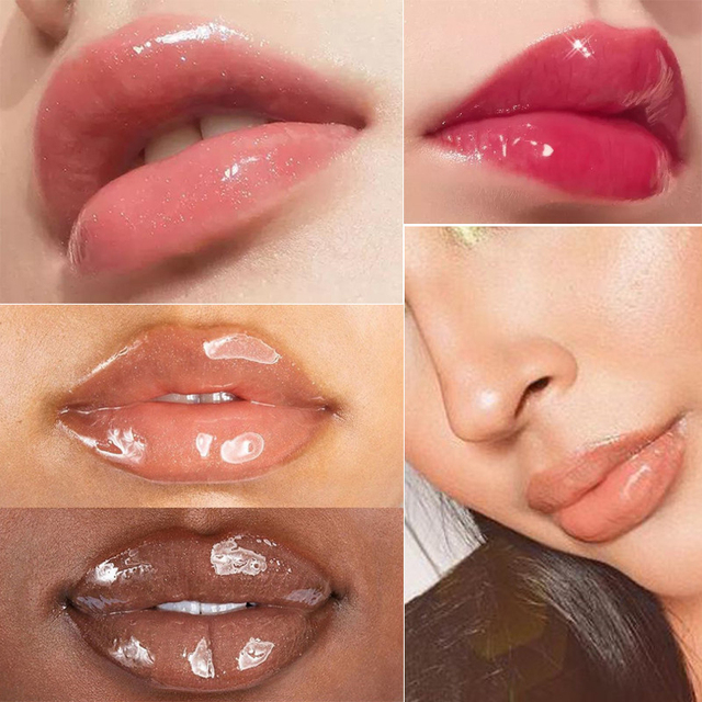 Moisturizing Gloss Plumping Lip Gloss Lip Plumper Makeup Glitter Nutritious Liquid Lipstick Cherry Mineral Oil Clear Lip Gloss 2