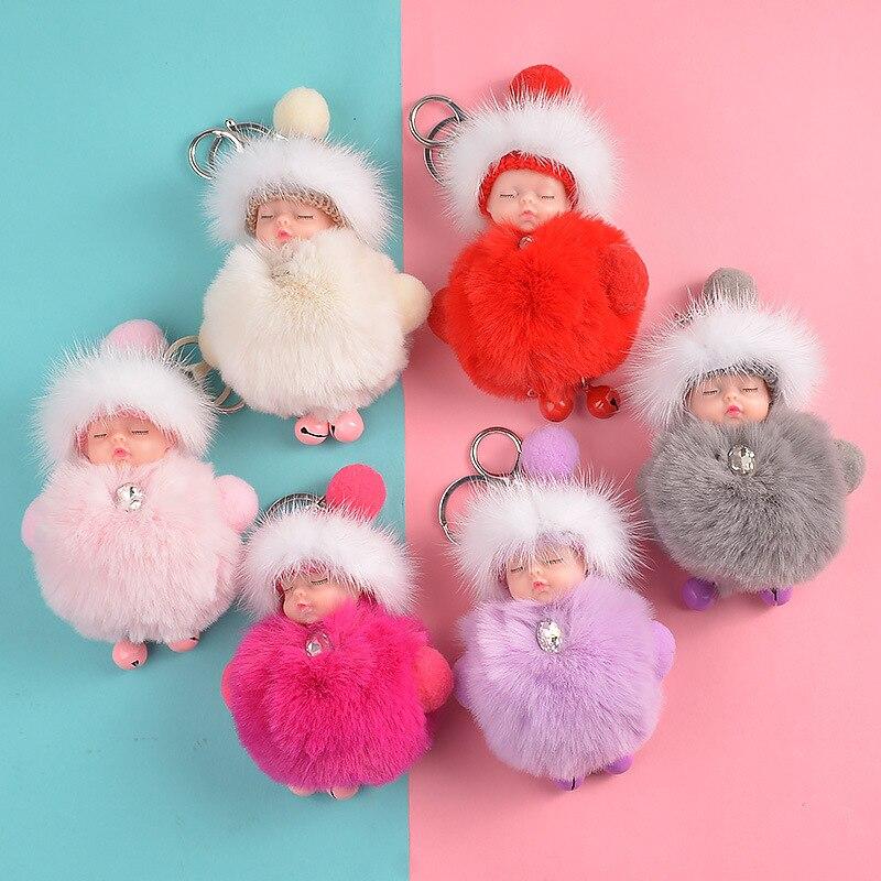 NEW Cute Sleeping Baby Doll KeyChains Plush Keychains Fluffy Pom Pom Faux Fur Plush Keychains