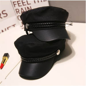 Military-Hat Cadet-Hat Captain-Cap Flat-Top Grey Autumn Black Fashion Women Spring Unisex