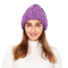 womens beanie hats Ladies knitted hat winter solid color wool new European wind turban cap unicorn women