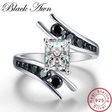 [Черный AWN] ювелирные украшения 3,9 г натуральная 925 пробы СЕРЕБРЯНЫЙ РЯД черные обручальные кольца с камнями для женщин Bague C299