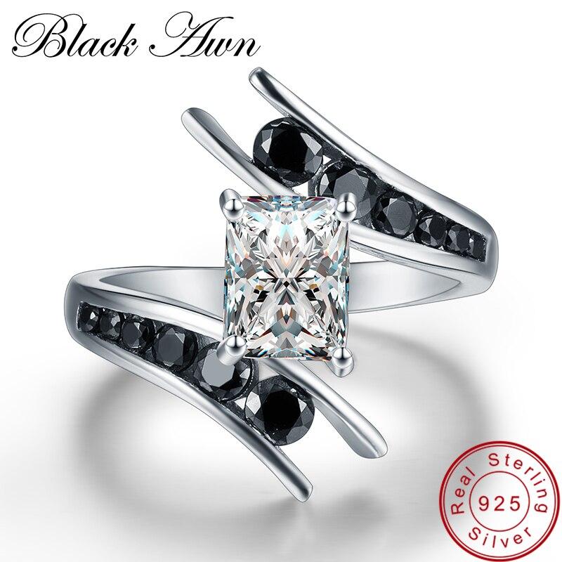 [Awn preto] jóias finas 3.9 grama 100% genuíno 925 prata esterlina fileira preto pedra anéis de noivado para mulher bague c299