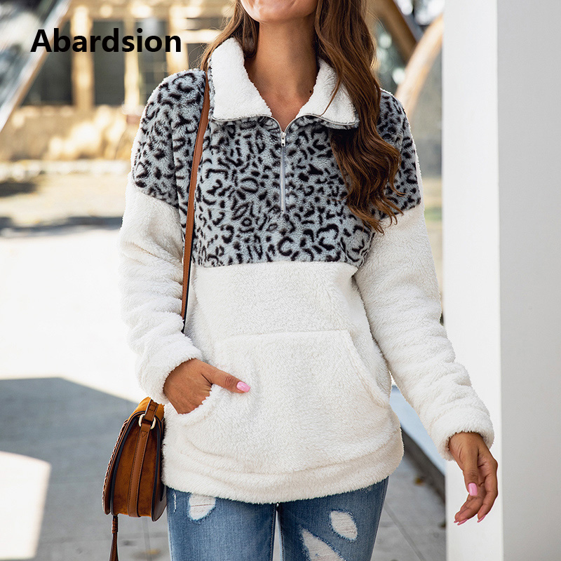 Abardsion Winter Thick Warm Fur Pullovers 2019 Women Casual Leopard Patchwork Zip Fluffy Plush Oversized Sweater