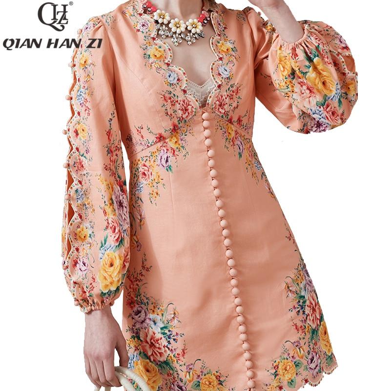 Qian Han Zi 2020 Summer Designer Runway Fashion Dress Women's Lantern Sleeve Cotton Button Flower Print Elegant Party Dress