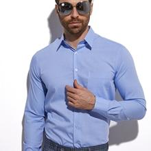Chemises Sur Mesure de Qualite Custom Made Men Dress Shirts Long Sleeve Light Blue Summer Shirt Men Tailored Shirt Office Shirts