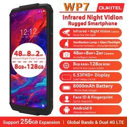 Смартфон OUKITEL WP7, прочный, 8000 мАч, 6,53 '', инфракрасный, ночное видение, мобильный телефон, 8 Гб 128 ГБ, Восьмиядерный, тройная камера 48 МП, прочный с...