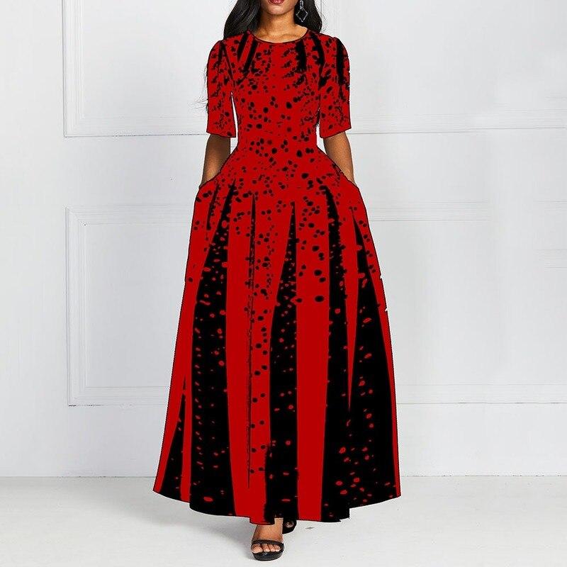 Fashion Women Red Half Sleeve Elegant Round Neck Boho Bandage Print Long Midi Dress Ladies Casual