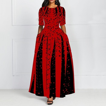 Fashion Women Red Half Sleeve Elegant Round Neck Boho Bandage Print Long Midi Dress Ladies