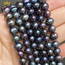 Perles d'eau douce naturelles noires de 7 à 8mm, rondes, amples, pour la fabrication de bijoux, accessoires Bracelet à bricoler soi-même de 15 pouces