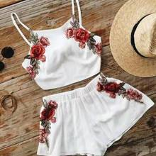 Flower Crop top shorts Suit Set 2020 Women Tracksuit Two-pie