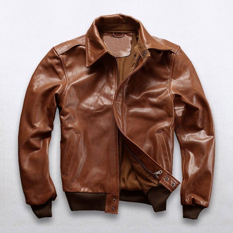 2019 New Men A2 Pilot Cow Genune Leather Jacket Casual Oil wax cowhide flight Jackets Winter Russia Coats