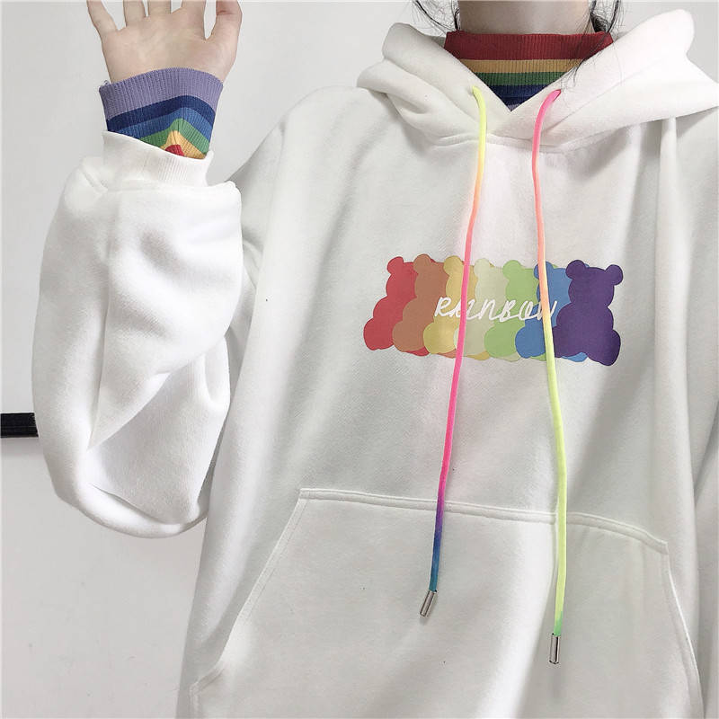 Harajuku Japan Sweatshirt Women Clothes Autumn Rainbow Print Hoodies Long Sleeve Loose White Winter Hoodie Streetwear Females
