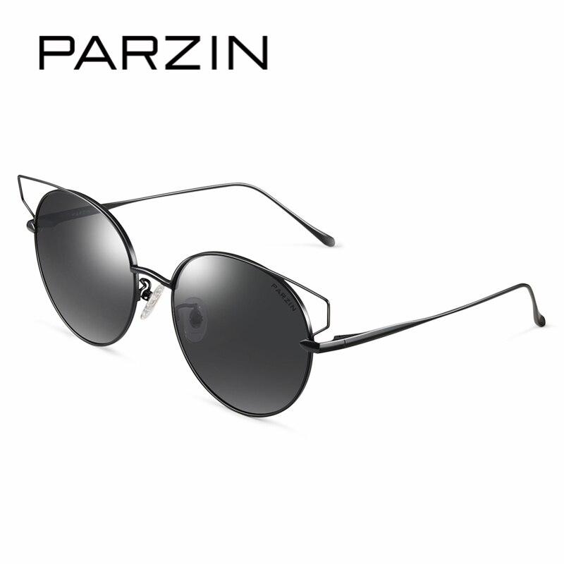 Parzin marca designer óculos de sol das mulheres alta qualidade grande frame da liga do vintage polarizado óculos de sol para acessórios motorista 8157 - 4