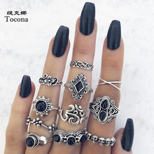 Tocona 11pcs/sets Vintage Black Rhinestone Silver Color Rings Carve Flowers Geometric Boho Jewelry for Women Wedding Ring  10057