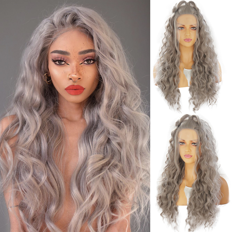 Charisma Sliver Grey Long Curly Wig High Temperature Hair Synthetic Lace Front Wig With Natural Hairline Wigs For Women
