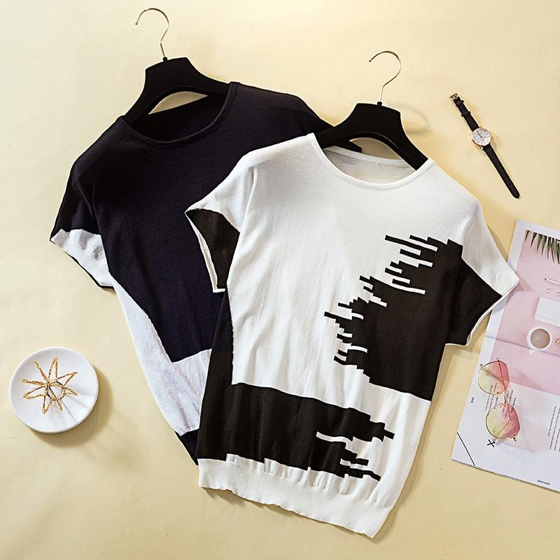 Large Size Dress Korean-style Half Sleeve Irregular Pattern Viscose Knitted Pullover WOMEN'S Dress Loose-Fit T-shirt Women's