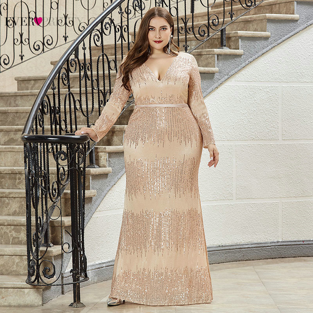Luxury Prom Dresses Plus Size Ever Pretty Full Sleeve Deep Mermaid V Neck Sequined Sexy Autumn Winter Party Gowns Gala Jurk 2020
