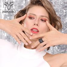 Viennois Wide Gold Color Finger Multicoloured Rhinestones Paved Cocktail Ring Size 6 7 8 9 Rings For Women Fashion Ring 2019(China)