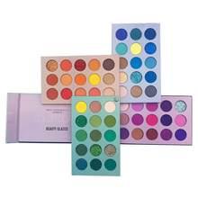 Palette de fard à paupières émaillé beauté ombres colorées Palette de paillettes surligneur miroitant maquillage Pigment mat Palette d'ombre à paupières