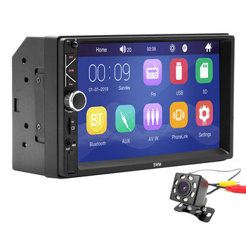 "2 Din Car Radio Touch Screen Digital Display 7"" Hd Player Mp5 Bluetooth Multimedia Usb 2din Autoradio With 8led Rear Camera"