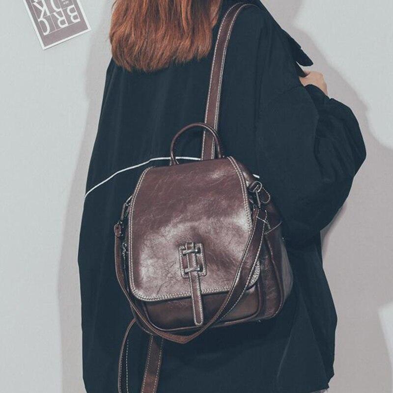 Vintage Backpack Female Pu Leather Women's Backpack Fashion School Bag Backpacks For Teenger Girl Leisure Shoulder Bag Mochila