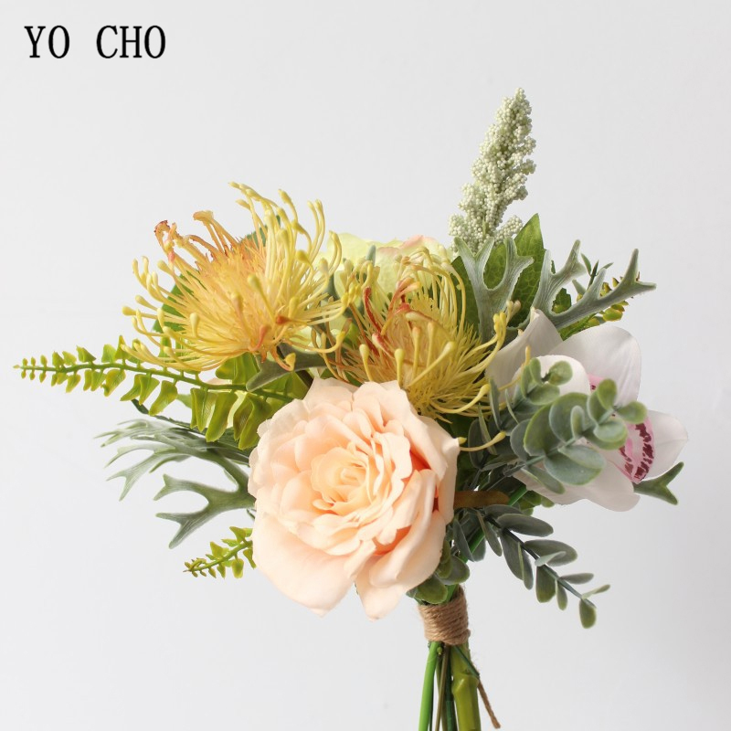 YO CHO Bride Bouquet Artificial Silk Rose Flower Drop Shipping Orchid Pompom Flower Purple Bridal Prom Festival Wedding Supplies