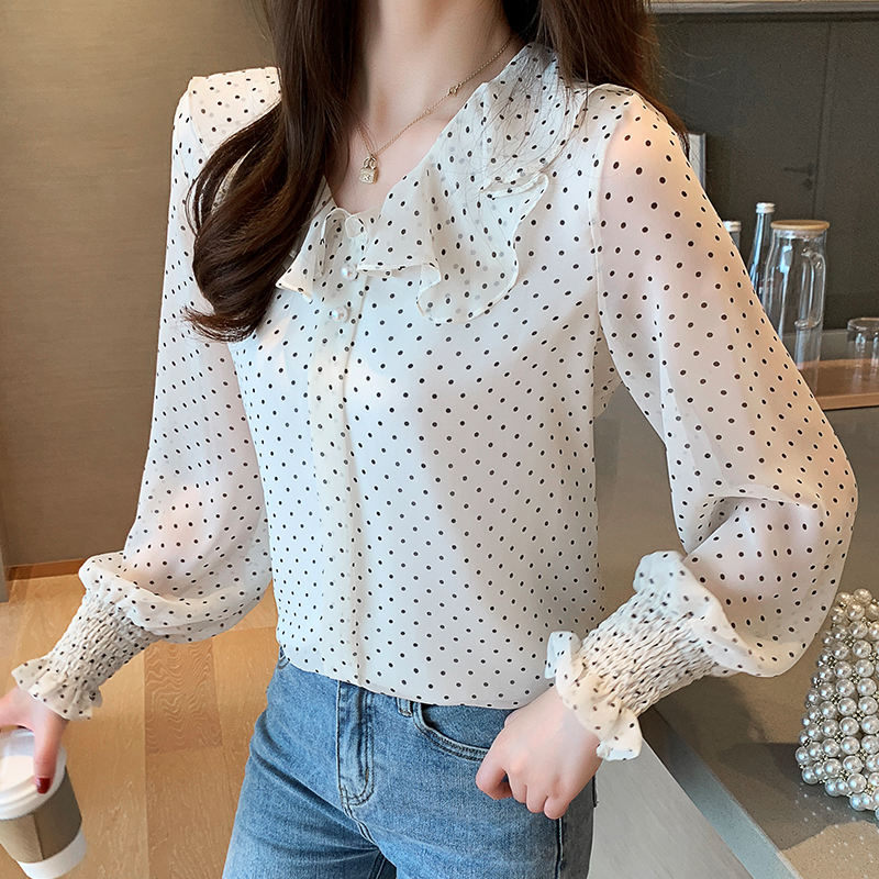 Korean Fashion Chiffon Women Blouses Autumn Ruffles Long Sleeve Women Shirts Plus Size XXL Womens Tops and Blouses Ladies Tops in Blouses amp Shirts from Women 39 s Clothing