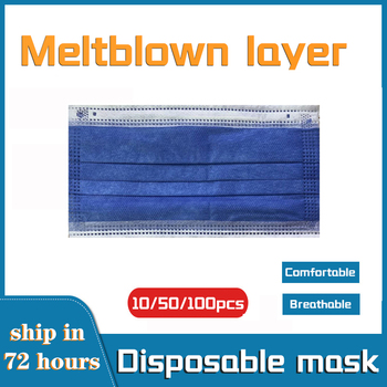 10/50/100pcs Disposable Face Mask 3 Layers Filter Earloop Meltblown Cloth Breathable Gauze Mask Dark Blue Adult Face Mouth Masks