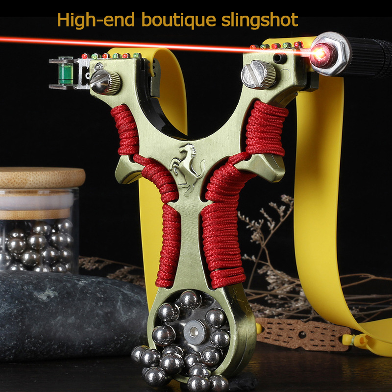 Alloy High Power Slingshot 2020 New Laser Red Line Fast Pressing Flat Leather Catapult Suitable For Outdoor Sports Entertainment