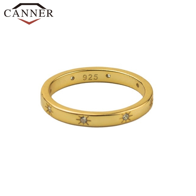 CANNER 925 Sterling Silver Rings for Women Cute Zircon Round Ring 925 Silver Wedding Fine Jewelry Minimalist Gift anillos 5