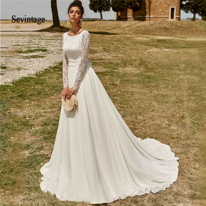 Sevintage A Line Long Sleeves Chiffon Lace Wedding Dresses ...