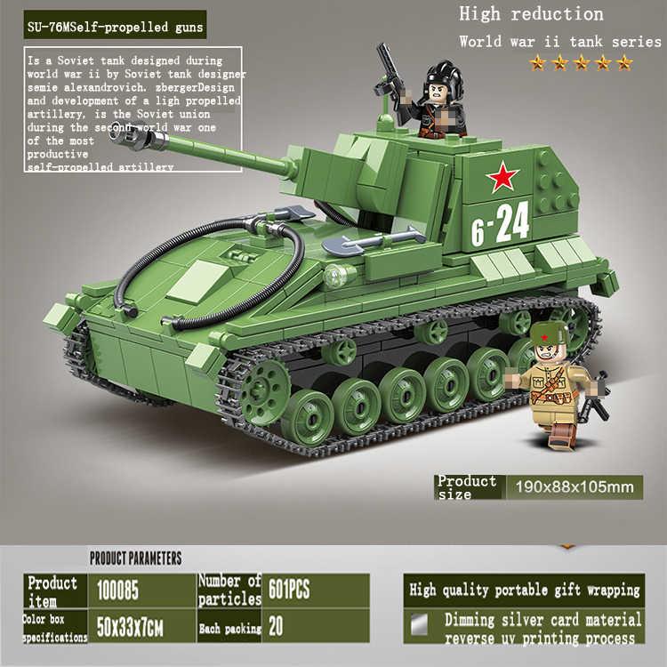 2020 جديد اللبنات العسكرية الجيش WW2 دبابات العالم الجندي سلاح SU-76M السوفياتي المدفعية الطوب التعليم اللعب