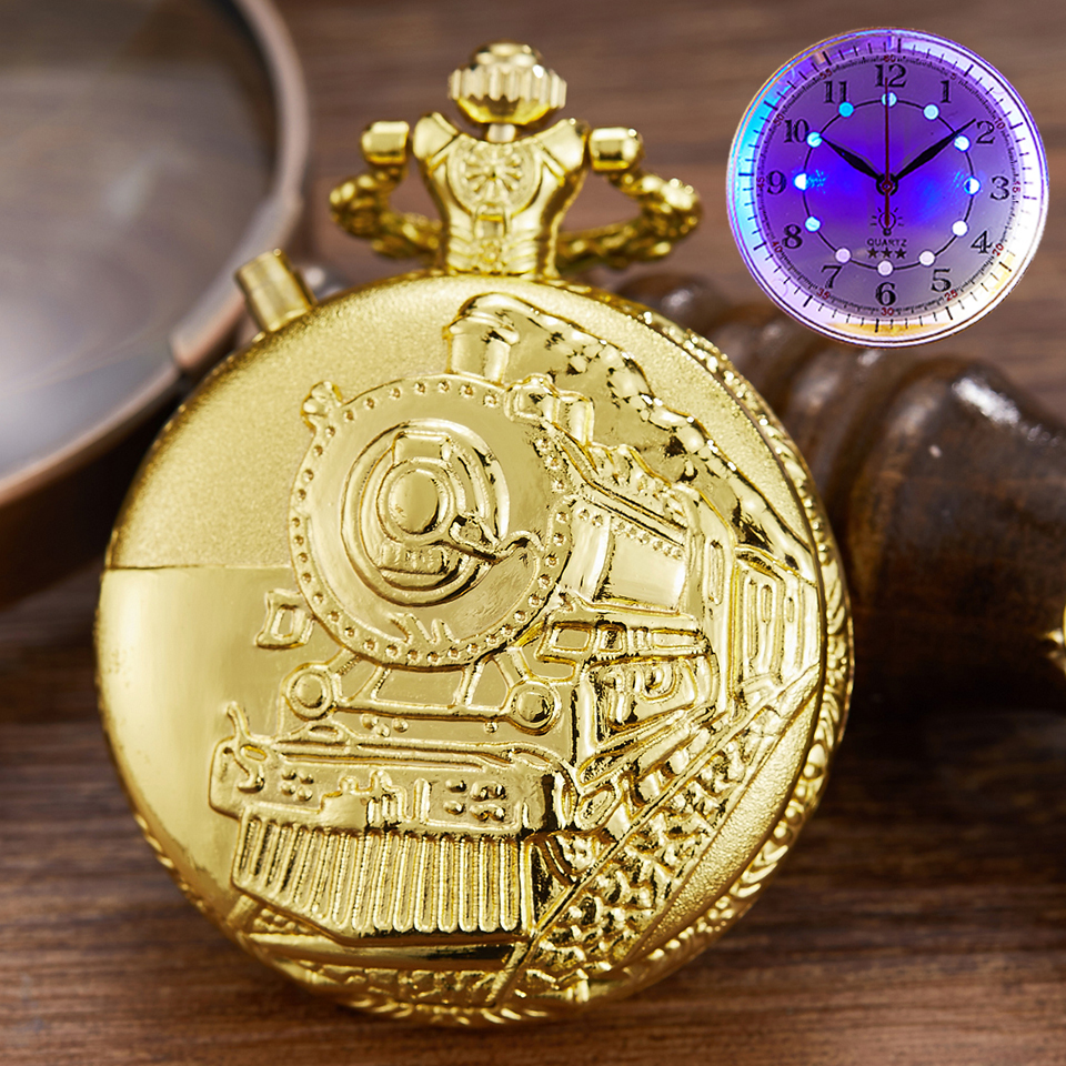 Vintage LED Dial Quartz Pocket Watch Carved Steam Train Creative Steampunk Railway Engraving Retro Chain Necklace Pendant Clock