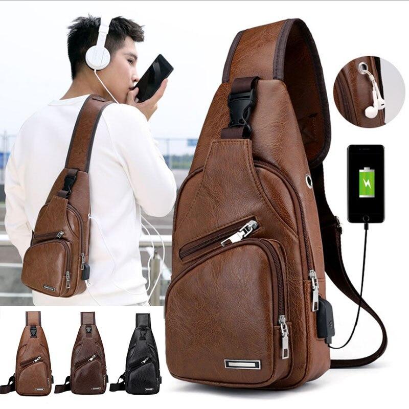 Men Leather Sling Bag Small Shoulder Bag Cross Body Chest Bag with USB Charging Port Headphone Plug Outdoor Hiking Daypack