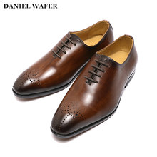 Boys Dress Shoes Genuine Leather Kids Lace Up Party Wedding children Oxford Loafer Shoes Black Brown Baby Formal Shoe for Men(China)