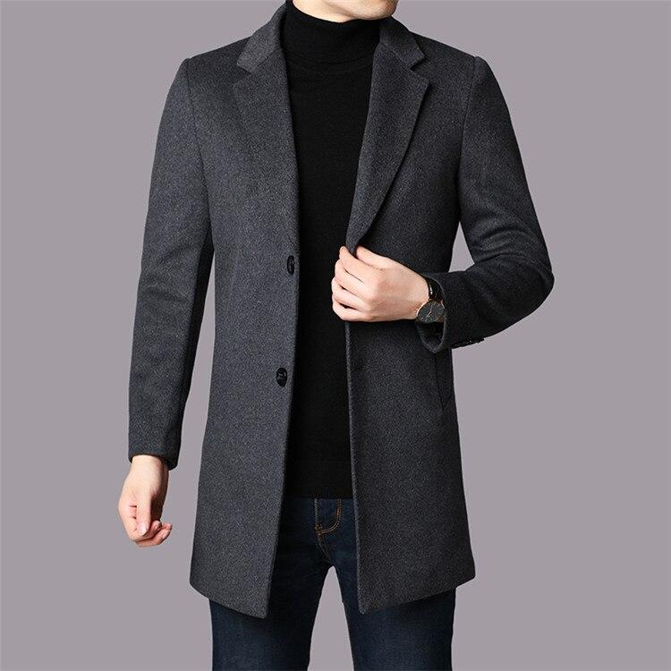 2019 2019 Autumn Winter Male brand Boutique Man Overcoat business Woolen Jackets senior Leisure business men Loose coat S-4XL