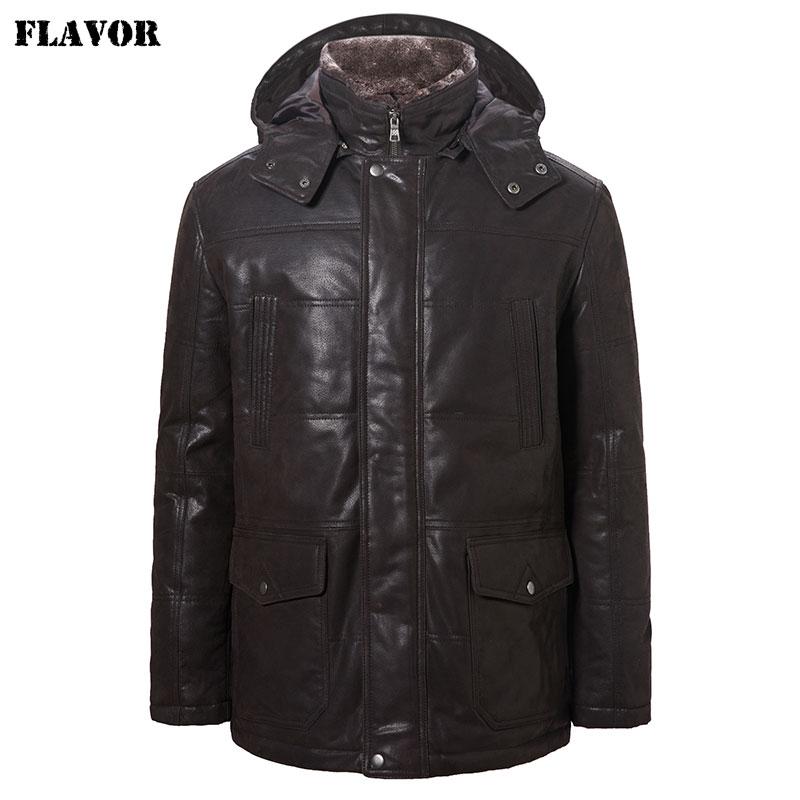 FLAVOR Men's Real Leather Jacket Pigskin Men Winter Warm Coat With Removable Hood Fur Collar