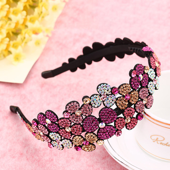 New European and American Hundred Flower Style Hair Accessories  Imported Crystal Headdress Exaggerated Fashion Color Headband