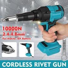 Arma de rebite elétrica sem fio arma porca de rebite broca porca de inserção puxar ferramenta de rebitagem 2.4-4.8mm com luz led para makita 18v bateria