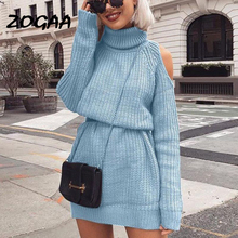 ZOGAA 2019 Autumn Winter Turtleneck Off Shoulder Knitted Sweater Dress Women Solid Slim Plus Size Long Pullovers Knitting Jumper plus size pullovers dress 2018 new fashion long turtleneck knitted sexy women autumn winter sweater dress yp0141