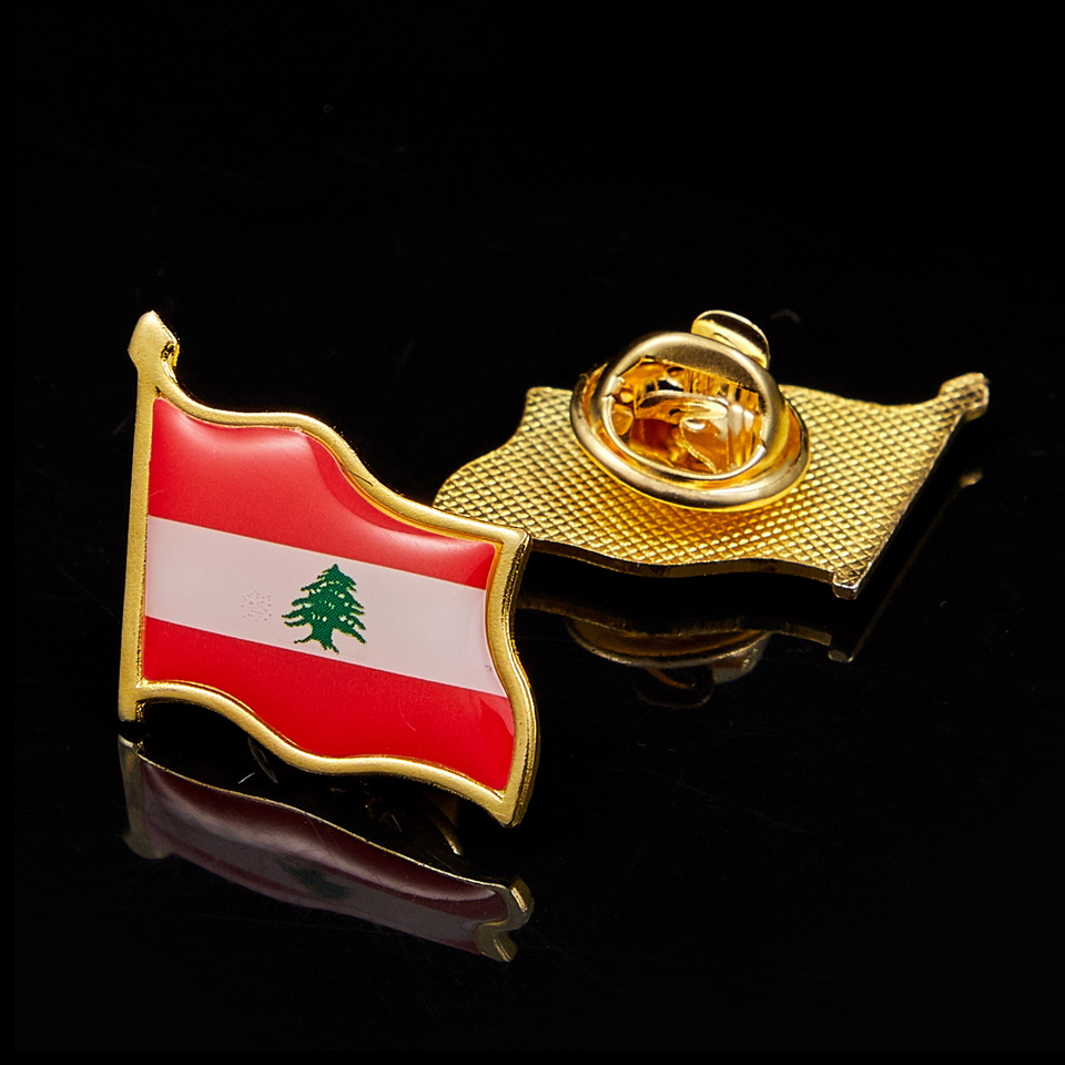 Lebanon Waving National Flag Lapel Pins Patriotism Gold Plated Pins Epoxy Badge Brooch Jewelry & Accessories