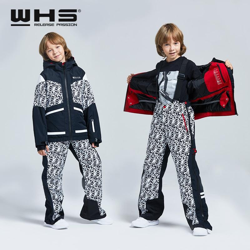 WHS nouveaux garçons ski costume adolescent veste coupe-vent manteaux et pantalon enfants ski costume imperméable vêtements 4-16 ans décoller en seconde
