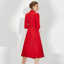 Elegant Office Ladies Long Sleeve Blazer Belt Formal Business Work Wear Trench Coat Sashes Slim Female Red Dress Clothes(China)