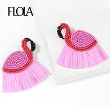 FLOLA Handgemachte Bohemian Perlen Ohrringe Für Frauen Rosa Flamingo Bast Perlen Quaste Drop Ohrringe Boho Erklärung Schmuck erst41