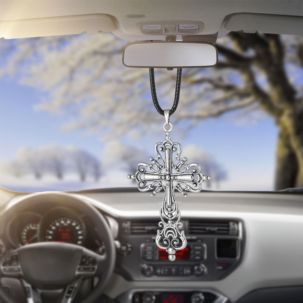 Car Accessories Gifts Hanging Archaize Crucifix Cross Car Pendant Rearview Mirror Decoration Ornaments Charms Auto Decoration