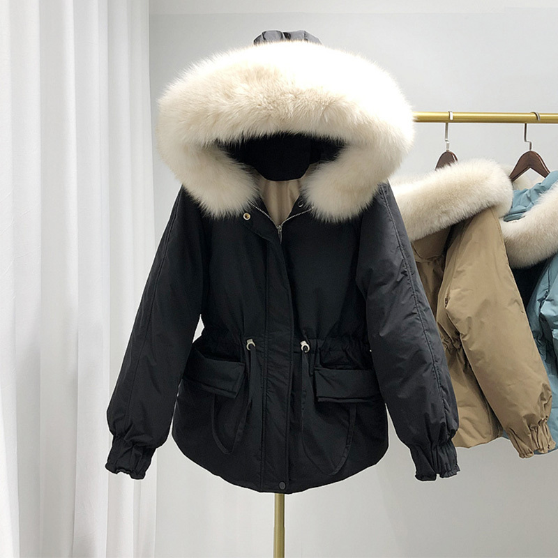 Large Natural Fox Fur Hooded Down Jacket Winter Warm 90% White Duck Down Parka Women Sash Tie Up Short Snow Loose Coats