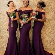 Party-Dress Mermaid-Bridesmaid-Dresses Vestidos Wedding Purple Off-Shoulder Women New